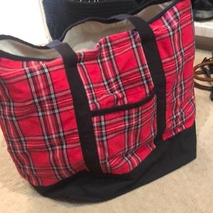 Red and black plaid bag.